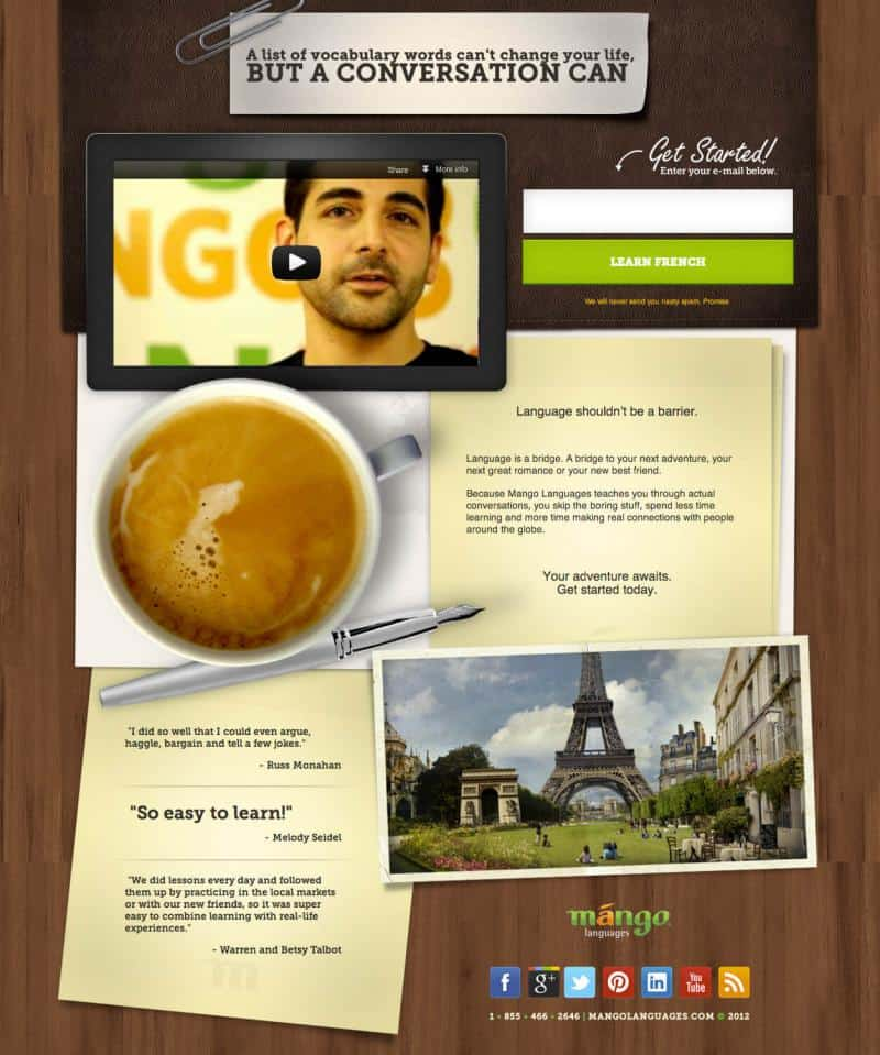 An example of a squeeze page from mangolanguages.com